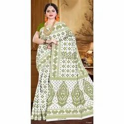 Printed Casual Wear Silk Cotton Fancy Saree, With blouse piece, 6 Meter
