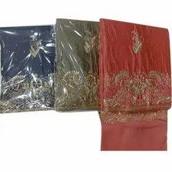 Embrodered Ladies Chanderi Unstitched uit, Handwash