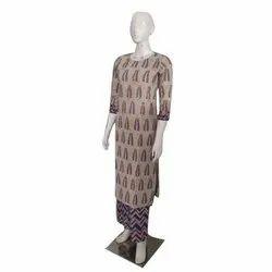 Straight Ladies Printed Cotton Palazzo Suit, Machine wash