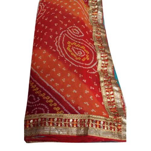 Hand Bandhani Party wear Georgette Bandhani Saree, 6.3 m (with blouse piece)