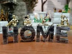 Polyresin Black And Golden Home Antique Statue, For Showcase, Size: 8-9 Inch