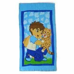 Blue Printed Kids Beach Towel, Rectangular, 450-550 GSM