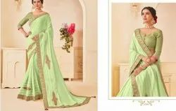 Silk Embroidery Trendy Sarees for Girls with Blouse Piece