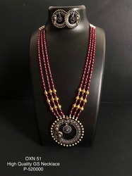 New German Silver Pearl Necklace