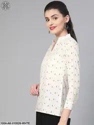 NAYO Long Sleeves Women White & Black Printed Shirt, Size: XS-3XL