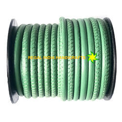 Light Green Nappa Leather Cord Stitched