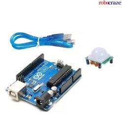 Arduino Uno R3 With USB Cable And PIR Sensor -  Robocraze