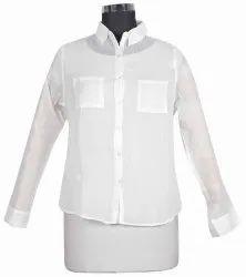 10 White Cotton Women's Short Shirt DR575