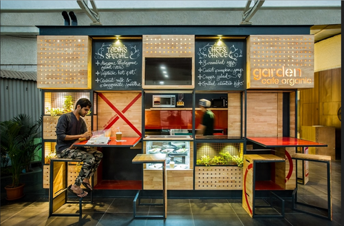 Garden Organic Cafe Interiors Design in Jubilee Hills