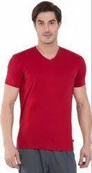 Red Cotton V Neck T Shirt,Plain Cotton