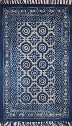 Indigo Cotton Block Printed Dabu Dhurrie Rugs In Border Design