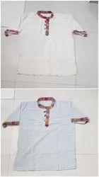 Casual Wear Cotton Fabric Hemp Plain Kurta