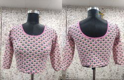 Printed Blouse In Cotton Lycra Material