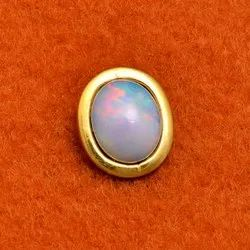 Matt Finish Gold Plated Sterling Silver Opal Gemstone Charm Pendant