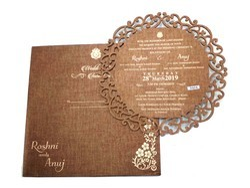 Brown Metallic Wedding And Anniversary Invitation Cards