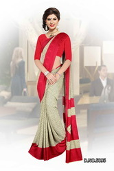 Beige Red Uniform Saree