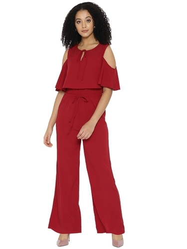 cc84ef0c4173 Women Polyester Cold-Shoulder Plain Jumpsuit