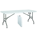 Off White Rectangular Plastic Fold In Half Table