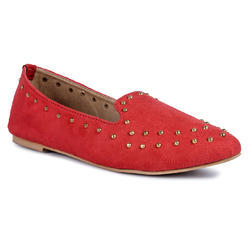 Yuniks Red Round Stud Pointed Belly Shoes