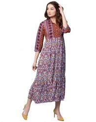 Women Purple Floral A-Line Rayon Dress
