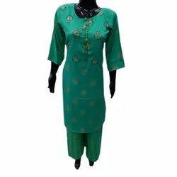 Cotton Regular Ladies Fancy Palazzo Suit, Hand Wash