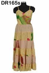 Vintage Recycled Silk Sari Long Spaghetti Strap Women's Maxi Dress DR165s