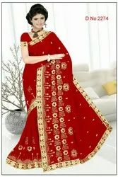 Blooming Flowers Embroidery Work Saree