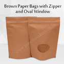 Brown Paper Bag With Zipper And Oval Window