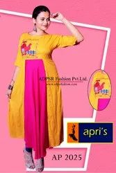 Slab Rayon Embroidered Gown, Size: L-Xl-Xxl