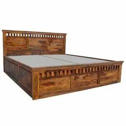 Brown Antique Solid Sheesham Wood Double Bed, Features: Termite Resistant, Size: 6 X 6 Feet
