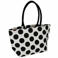 RMP White and Black Dot Printed Ladies Shopping Bag, For Gift Bags, Shopping Bags