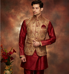Mehroon Royal Red Indo Western with Designer Waistcoat