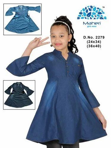 626201b7cc5 Denim Blue / Black Regular Wear Girls Denim Frock, Size: 24-40, Rs ...