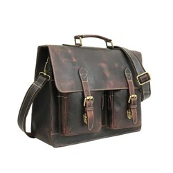 Bag Factory 2020 Brown Full Grain Genuine Leather Laptop Portfolio Bag for Men and Women