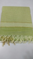Plain Casual Wear Jute Cotton Sarees, With Blouse