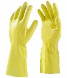 Plain Yellow PVC Hand Gloves, 6-10 Inches, Finger Type: Full Fingered