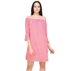 Cotton Checked Printed Surplus Mini Dress For Ladies