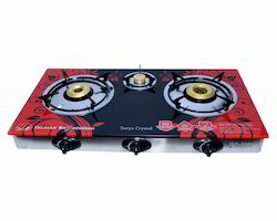 Glass Top Three Burner, For Kitchen, Size: Normal
