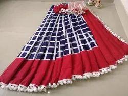 Girraj Printers Border Fancy Pom Pom Cotton Saree, Without Blouse Piece, 5.2 M (Separate Blouse Piece)