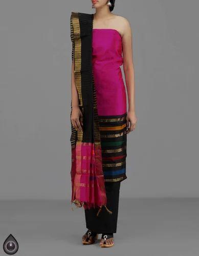 8de75a74d3 Handloom Dupion Ghicha Tussar Silk Salwar Kameez, Dupion Silk ...