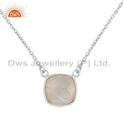 Rainbow Moonstone Fine Silver Womens Chain Pendants