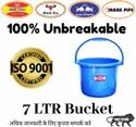 Blue Plastic Unbreakable Bucket 7 Ltr, Model Name/number: B-7