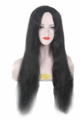 Women Indian Natural & Smooth Black Long Straight Hair Wig