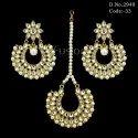 Pearl Kundan Earring Tikka Set