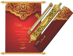 Metallic Portrait Royal Scroll Farmaan Invitation Card