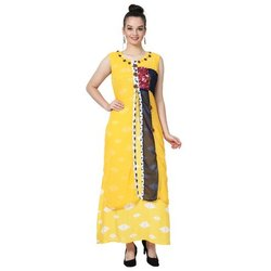 LKAAAF-17B Yellow Printed Ladies Kurti