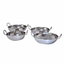 Vatika Stainless Steel Kitchen Kadhai, Size: 8-14