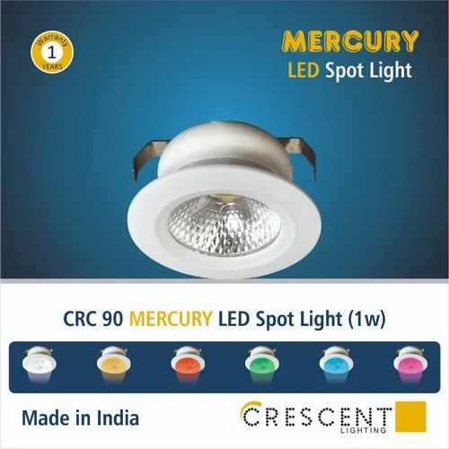 Led Plastic 1w CRESENT SPOT LIGHT, For Indoor, Model Name/Number: Mercury