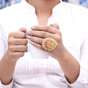 Druzy Rough Gemstone Gold Plated Women Ring