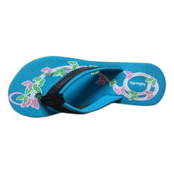 Fashion Ladies Rubber Sky Blue Slipper, Size: 5 to 8